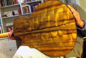 Myrtle wood guitar back Randall Kramer guitar onemanz.com