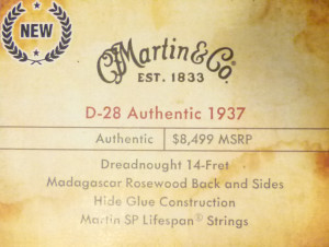 Martin D28 Authentic 1937 label