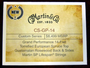Martin CS-GP-14 NAMM label