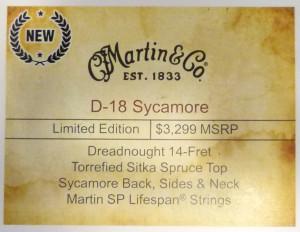 Martin D-18 Sycamore NAMM label review at onemanz.com