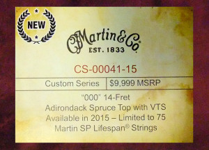 C.F. Martin CS-00041-15 NAMM show label