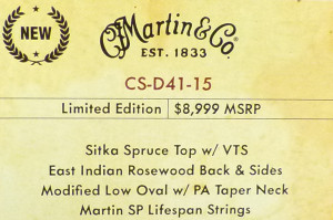 Martin CS-D41-15 NAMM Label