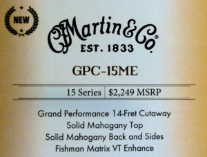 Martin GPC-15ME label NAMM