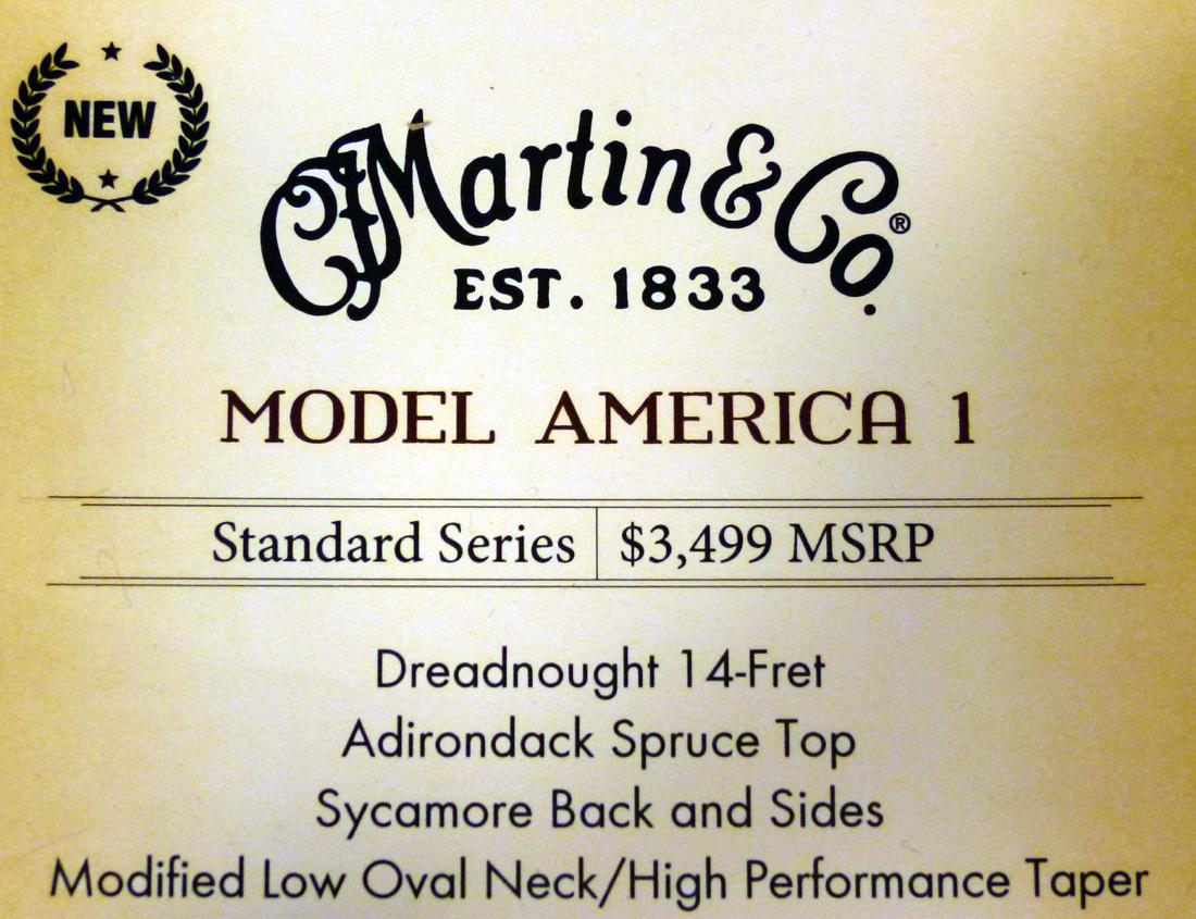 Martin Model America 1 lable