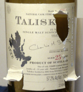 Talisker 25 label damaged in hurricane sandy