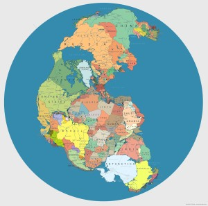 Pangea with modern day borders