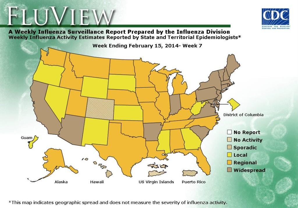 Flu map February 2014