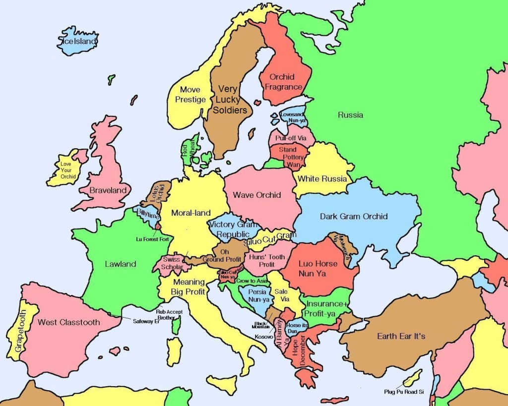Map of Europe translated from Chinese
