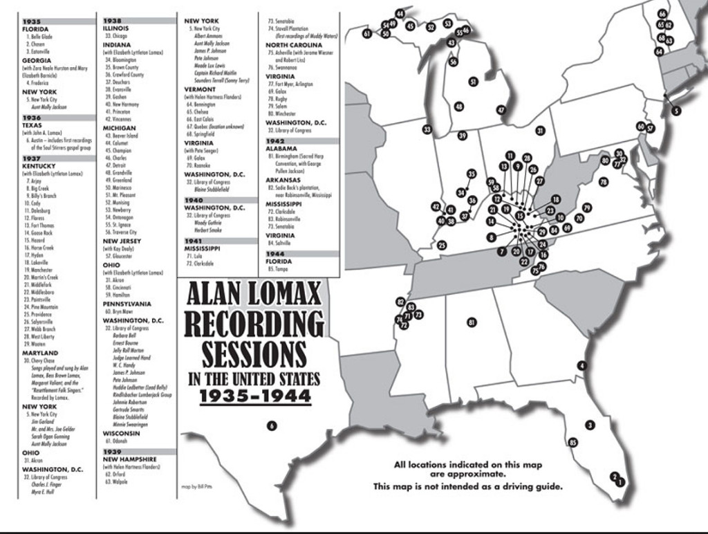 Alan Lomax Archive Map