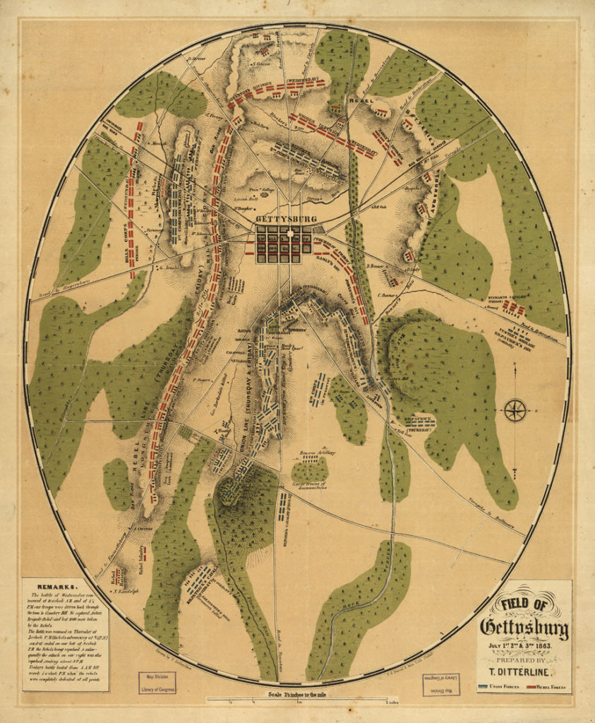 gettysburg-map 4th of July 1863