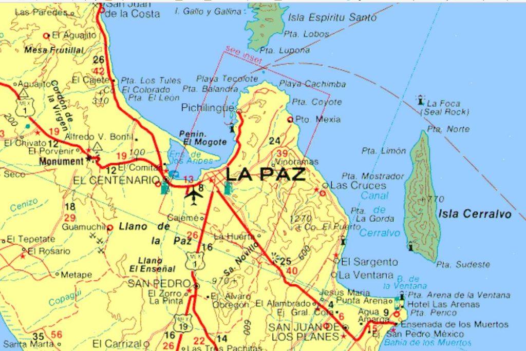Baja Sur Sierra Cacachilas detail map