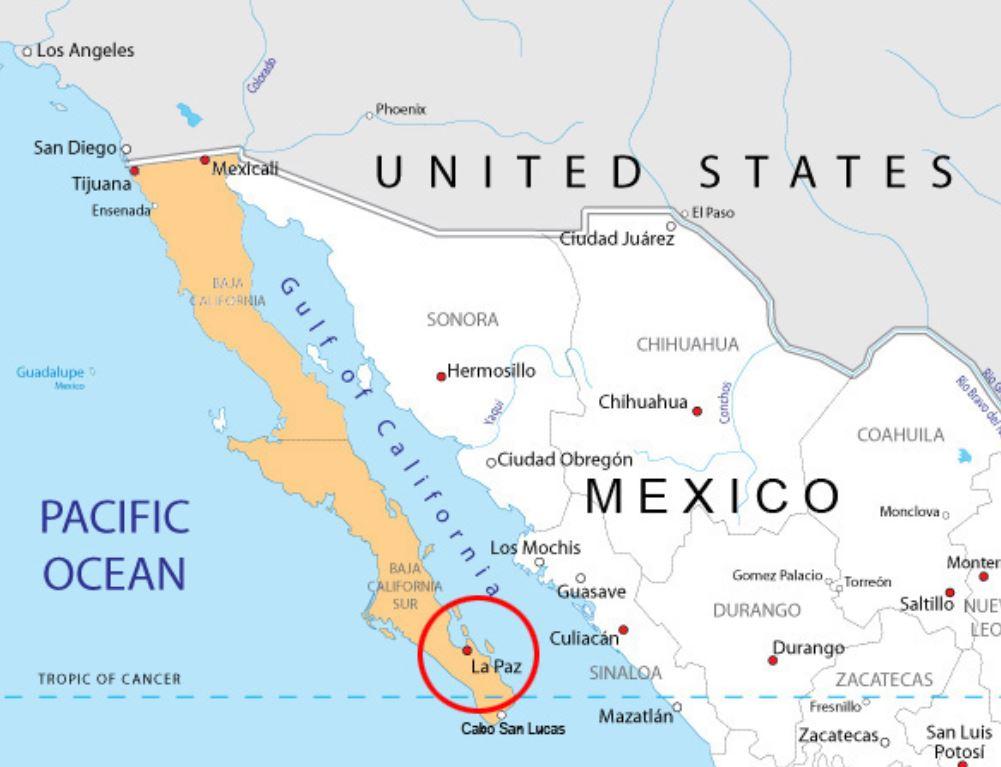 The Sierra Cacachilas Mountains - Baja, Mexico - Monday Map