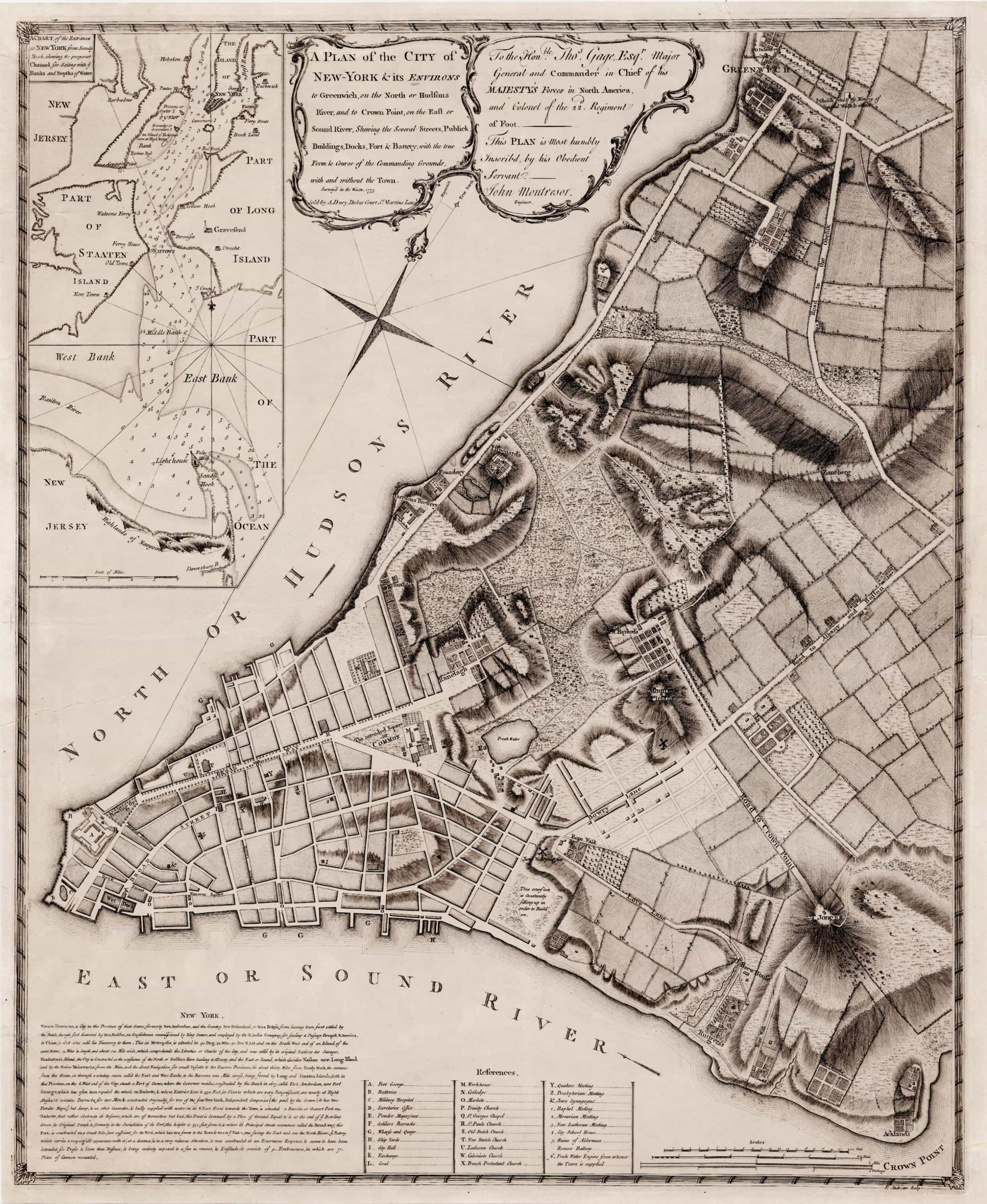 New York Map1776 George Washington onemanz s