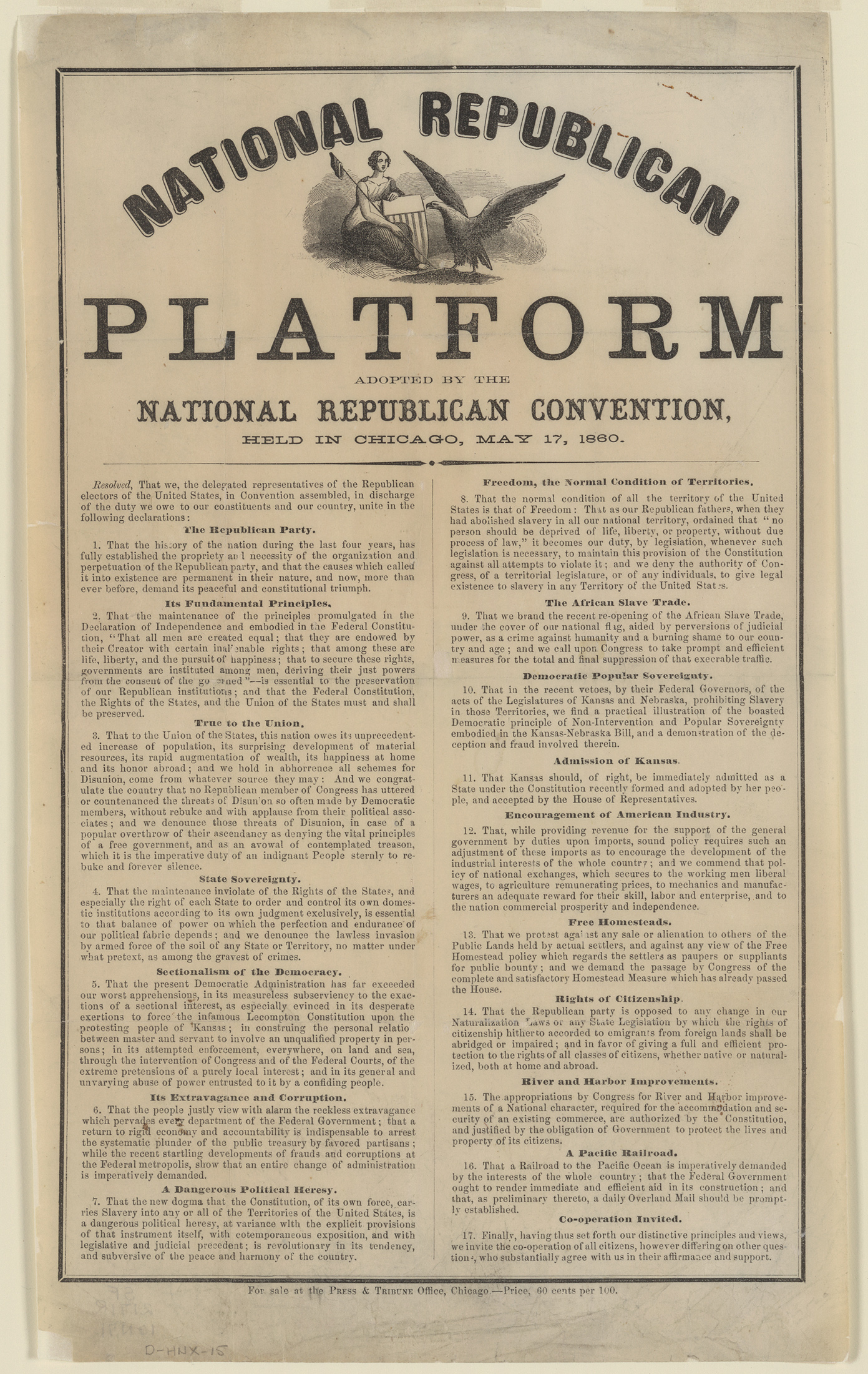 Republican platfrom 1860 Lincoln onemanz