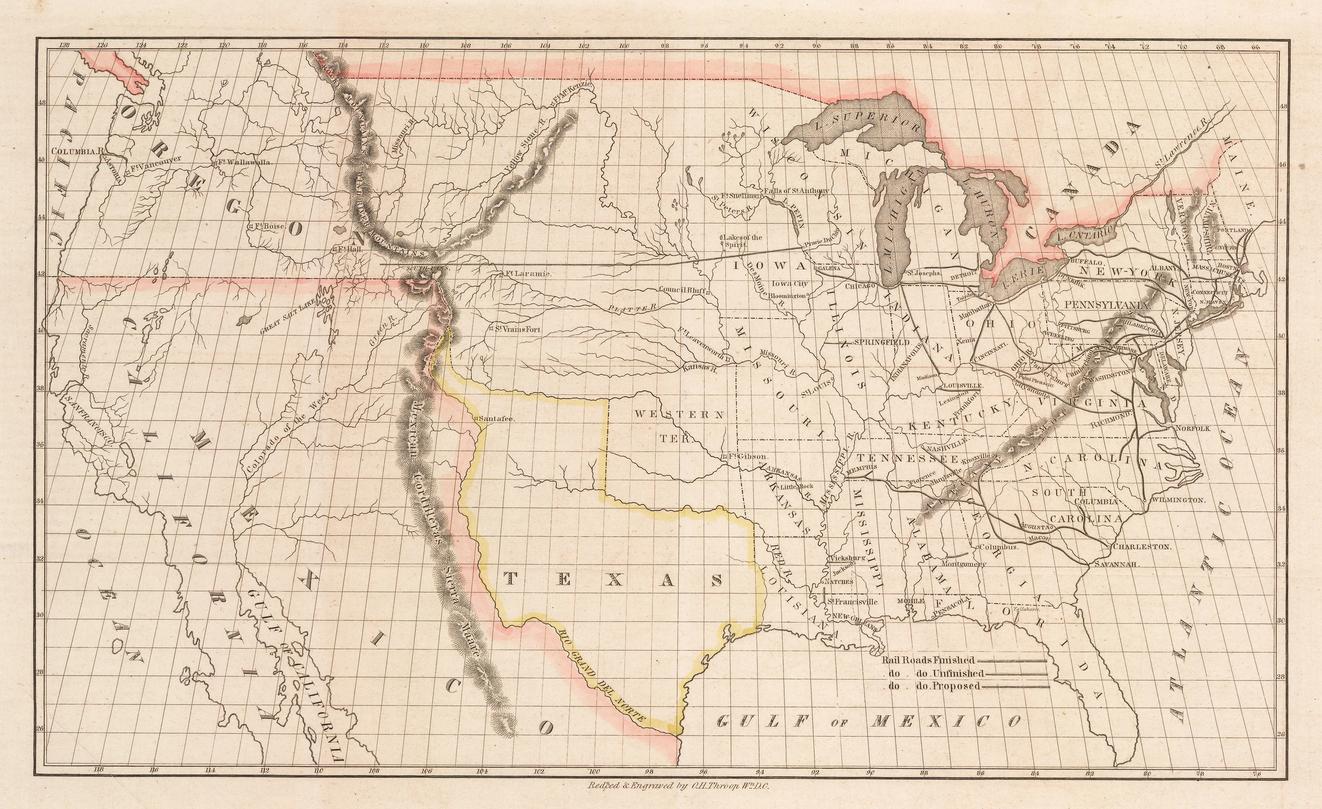 1845 transcontinental railroad northen route map
