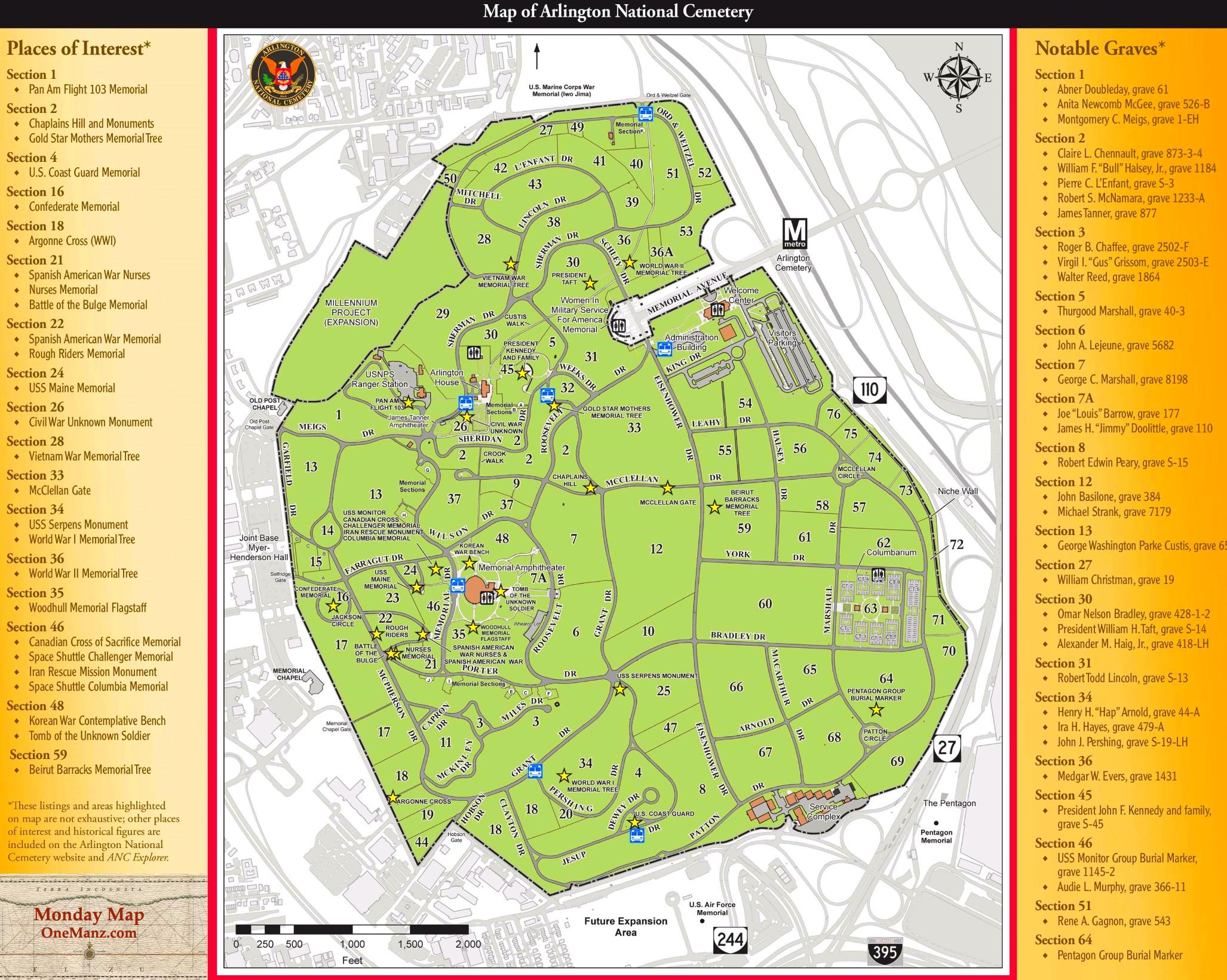 Arlington_National_Cemetary_Map_Memorial_Day_onemanz.com