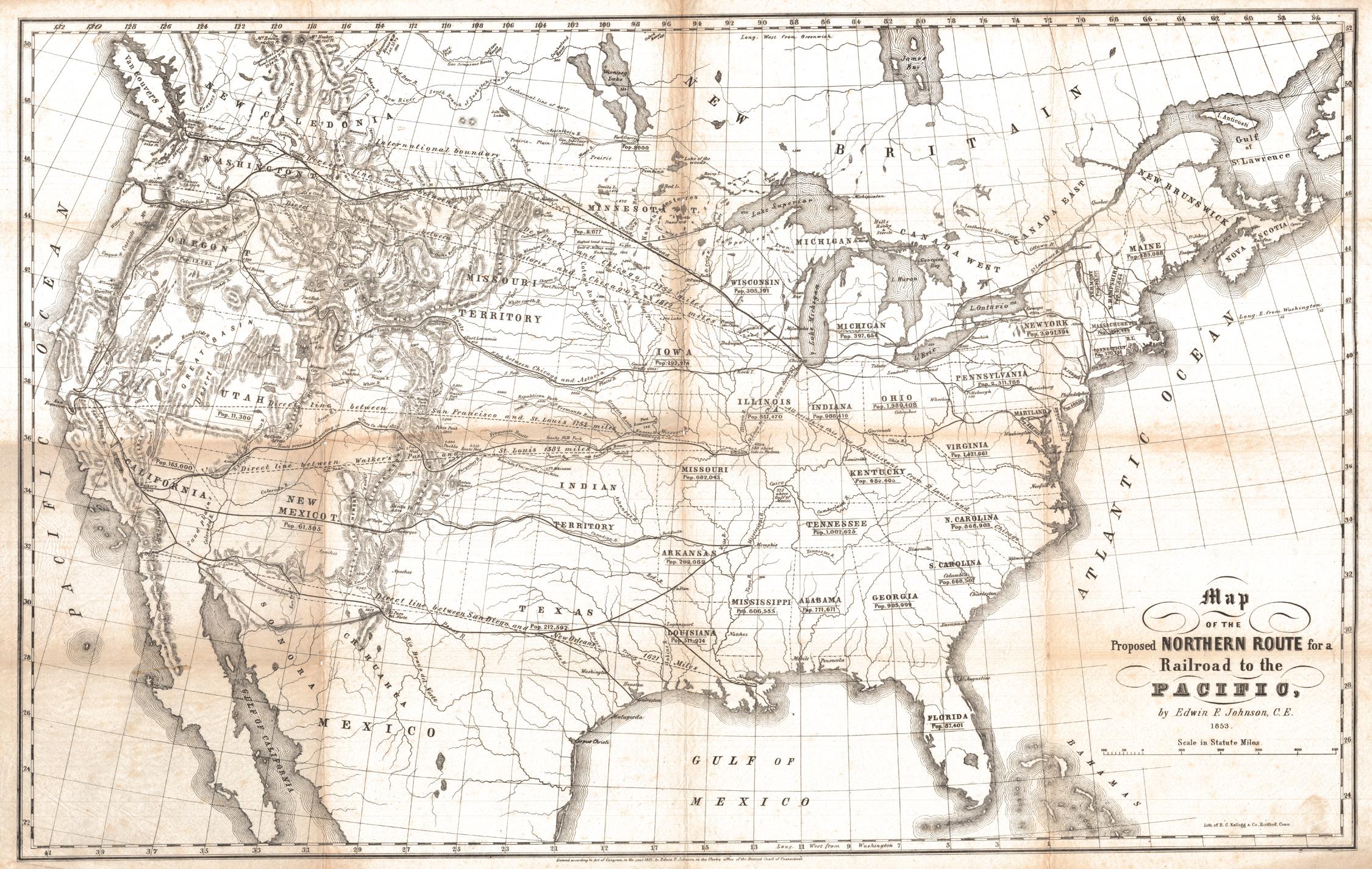 Transc railroad proposed routes 1853
